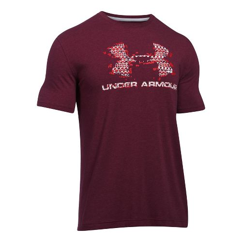 Mens Under Armour Sportstyle Blow Out Logo Short Sleeve Technical Tops - Maroon Heather/Red M ...