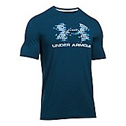 Mens Under Armour Sportstyle Blow Out Logo Short Sleeve Technical Tops