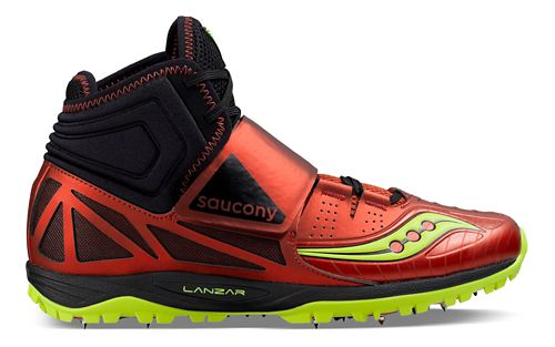 Mens Saucony  Lanzar Jav2 Track and Field Shoe - Red/Citron 9.5