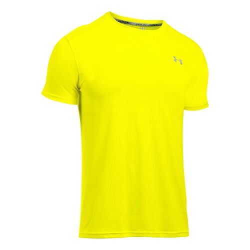 Mens Under Armour Coolswitch Run V2 Short Sleeve Technical Tops - Yellow Ray L
