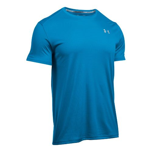 Mens Under Armour CoolSwitch Run V2 Short Sleeve Technical Tops - Brilliant Blue L