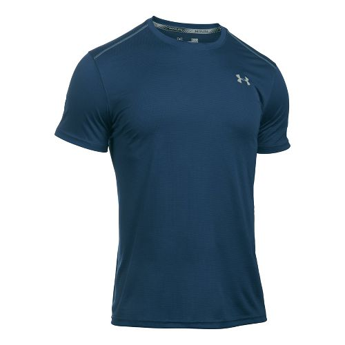 Mens Under Armour Coolswitch Run V2 Short Sleeve Technical Tops - Blackout Navy XL