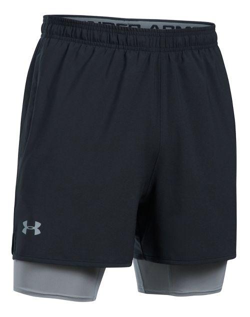 Mens Under Armour Qualifier 2-in-1 Shorts - Black L