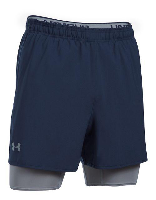 Mens Under Armour Qualifier 2-in-1 Shorts - Midnight Navy XL