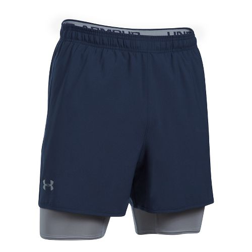 Mens Under Armour Qualifier 2-in-1 Shorts - Midnight Navy S