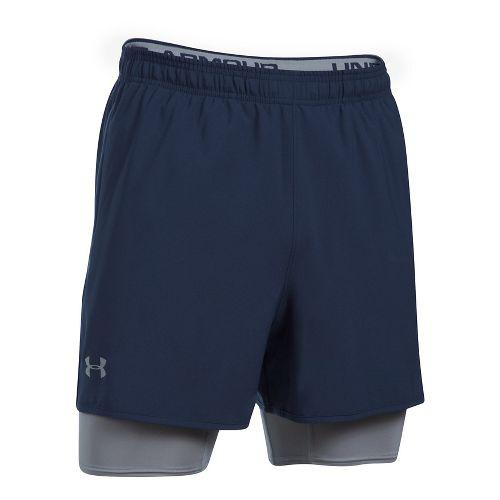 Mens Under Armour Qualifier 2-in-1 Shorts - Midnight Navy XXL
