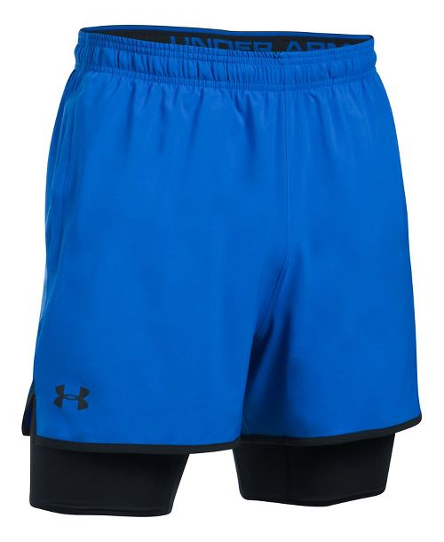 Mens Under Armour Qualifier 2-in-1 Shorts - Blue Marker L