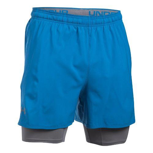 Mens Under Armour Qualifier 2-in-1 Shorts - Bayou Blue/Graphite S