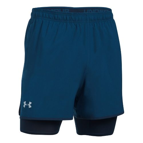 Mens Under Armour Qualifier 2-in-1 Shorts - Blackout Navy M