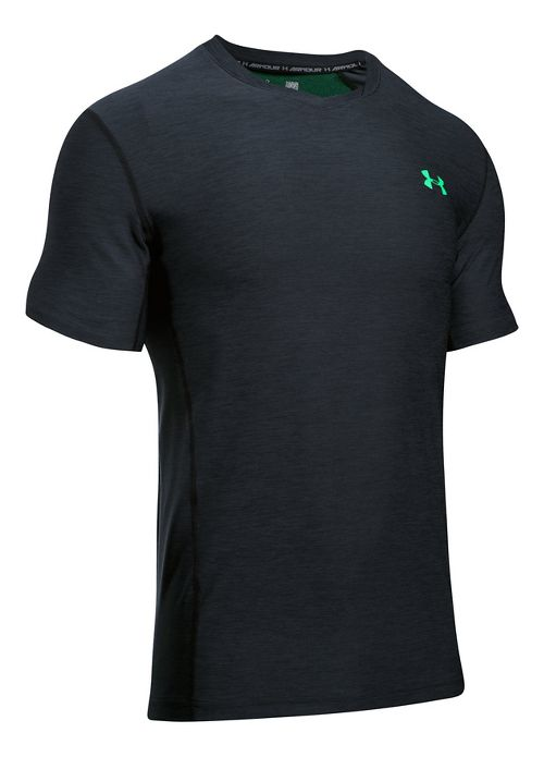 Mens Under Armour Supvervent Fitted Short Sleeve Technical Tops - Black/Vapor Green L