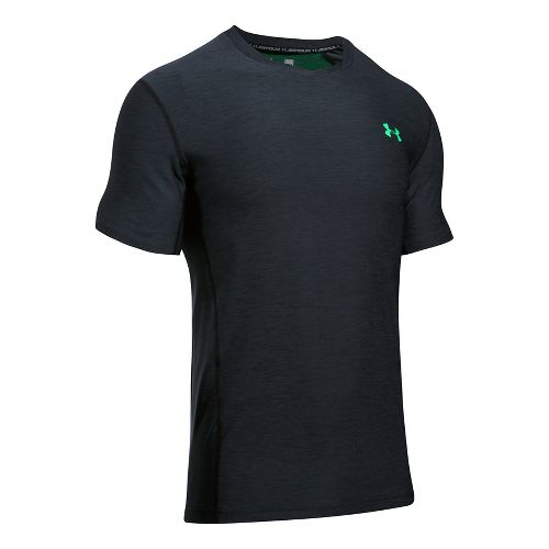 Mens Under Armour Supvervent Fitted Short Sleeve Technical Tops - Black/Vapor Green XL
