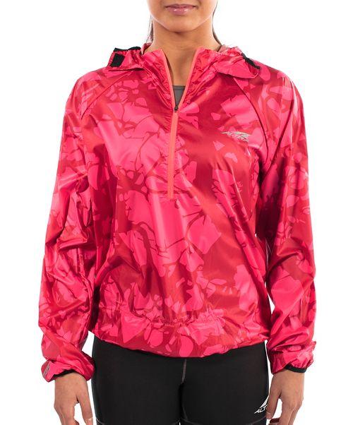Womens Altra Stashjack Windbreaker Fullback Running Jackets - Red S