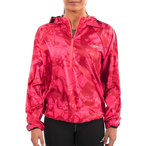 Womens Altra Stashjack Windbreaker Fullback Running Jackets - Red M