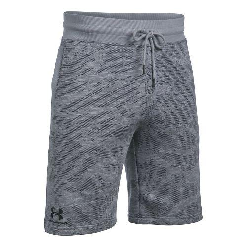 Mens Under Armour SS Camo Fleece Unlined Shorts - Steel L