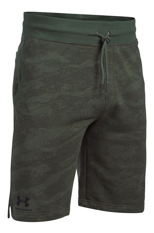 Mens Under Armour SS Camo Fleece Unlined Shorts - Downtown Green XL