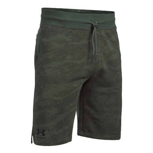 Mens Under Armour SS Camo Fleece Unlined Shorts - Downtown Green XXL