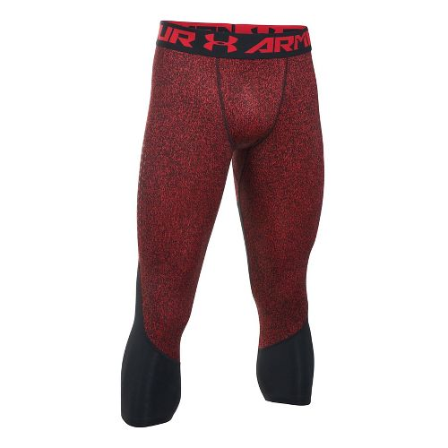 Mens Under Armour HeatGear CoolSwitch 2C 3/4 Tights & Leggings Pants - Red/Black M