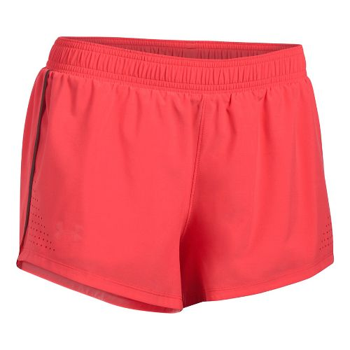 Womens Under Armour Accelerate Split Unlined Shorts - Red/Reflective XS