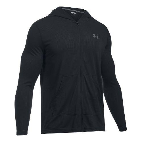Mens Under Armour Threadborne Full Zip Half-Zips & Hoodies Technical Tops - Black XL