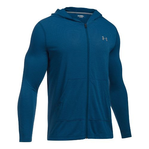 Mens Under Armour Threadborne Full Zip Half-Zips & Hoodies Technical Tops - Blackout Navy XXL ...