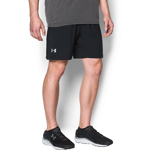 Mens Under Armour Launch SW 2-in-1 Shorts - Black/Black L
