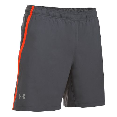 Mens Under Armour Launch SW 2-in-1 Shorts - Grey/Phoenix Fire S