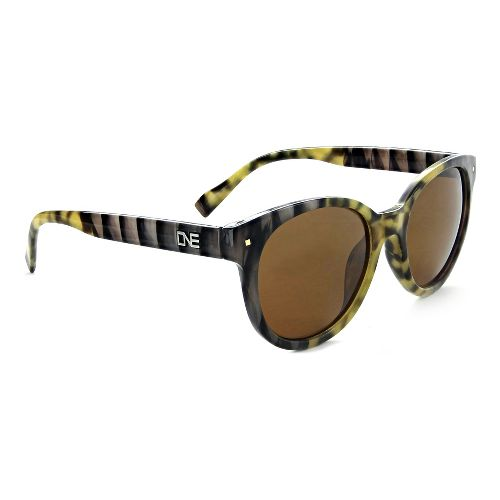 Womens One Hotplate Polarized Sunglasses - Shiny Marble/Brown
