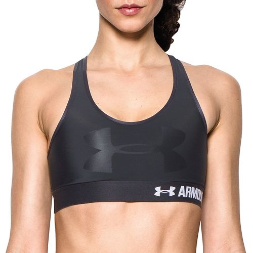 Womens Under Armour Mid  Graphic Sports Bras - Black/Black M