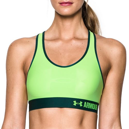 Womens Under Armour Mid  Graphic Sports Bras - Quirky Lime L