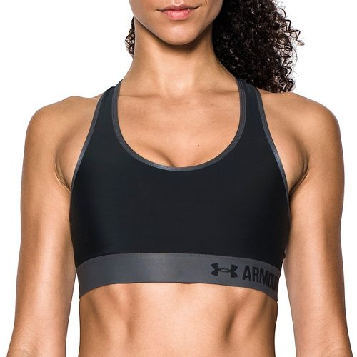 Womens Under Armour Mid UA Graphic Sports Bras - Black/Grey M
