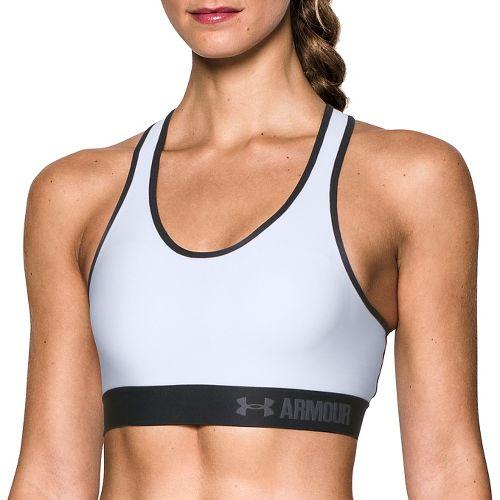 Womens Under Armour Mid UA Graphic Core Sports Bras - White/Black L