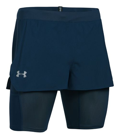 Mens Under Armour Transport 2-in-1 Shorts - Academy/Lime XL