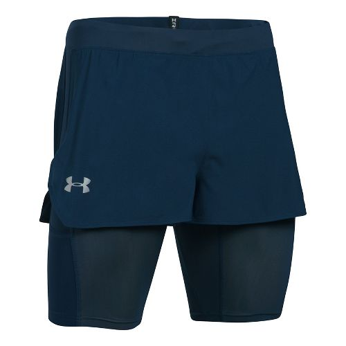 Mens Under Armour Transport 2-in-1 Shorts - Academy/Lime M