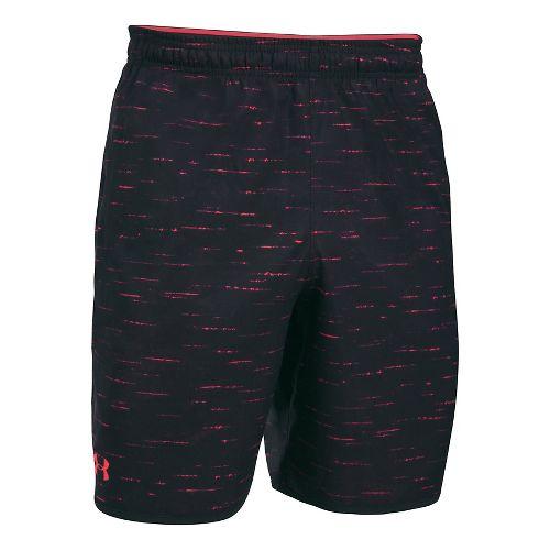 Mens Under Armour Qualifier Novelty Unlined Shorts - Black/Marathon Red M
