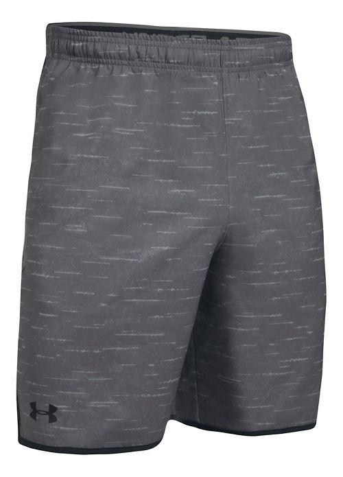 Mens Under Armour Qualifier Novelty Unlined Shorts - Grey/Black L
