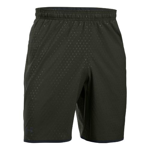 Mens Under Armour Qualifier Novelty Unlined Shorts - Army Green/Black L