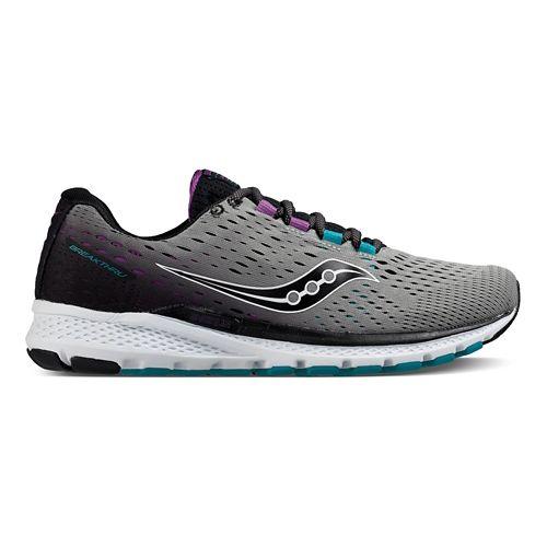 Womens Saucony Breakthru 3 Running Shoe - Grey/Purple/Teal 10.5