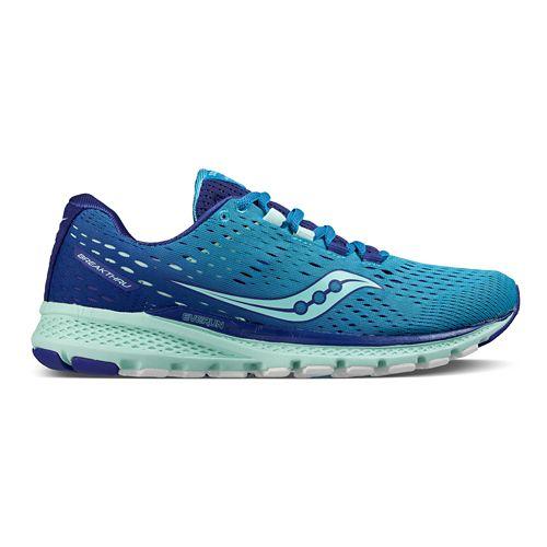Womens Saucony Breakthru 3 Running Shoe - Blue/Mint 7.5