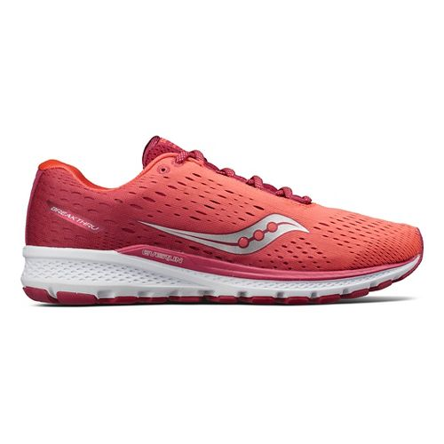 Womens Saucony Breakthru 3 Running Shoe - Berry/Coral 8.5