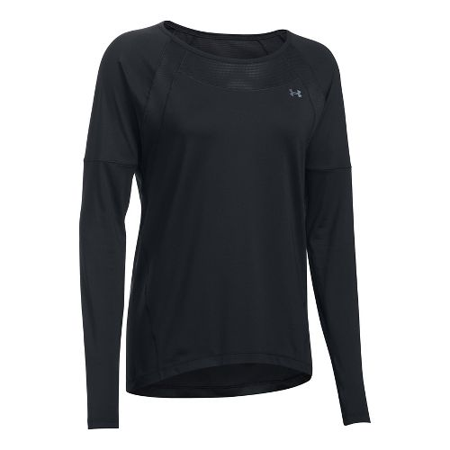 Womens Under Armour Sport Long Sleeve Technical Tops - Black/Black S