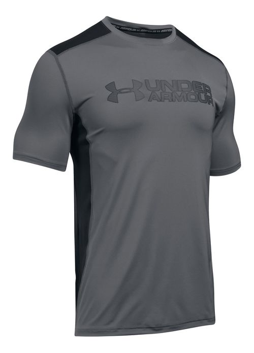 Mens Under Armour Raid Graphic Short Sleeve Technical Tops - Graphite/Black L