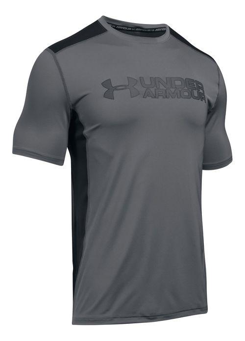Mens Under Armour Raid Graphic Short Sleeve Technical Tops - Graphite/Black XXL