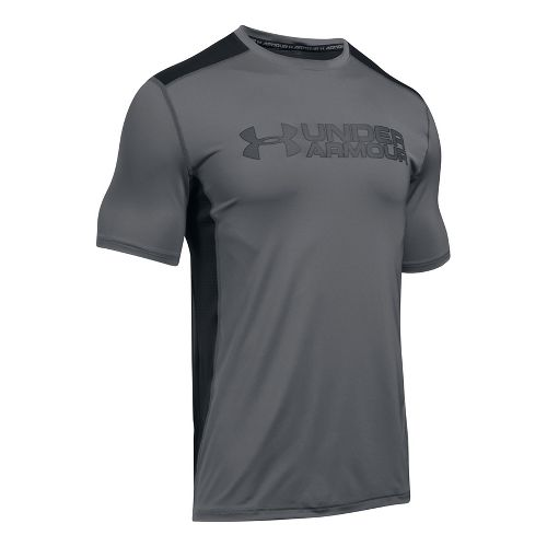 Mens Under Armour Raid Graphic Short Sleeve Technical Tops - Graphite/Black M