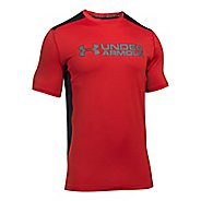 Mens Under Armour Raid Graphic Short Sleeve Technical Tops - Red/Graphite XXL
