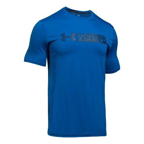 Mens Under Armour Raid Graphic Short Sleeve Technical Tops - Blue Marker/Black XL