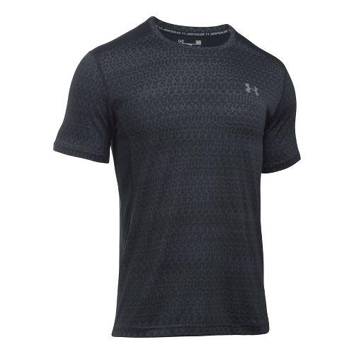 Mens Under Armour Raid Jacquard Short Sleeve Technical Tops - Black/Graphite 3XL
