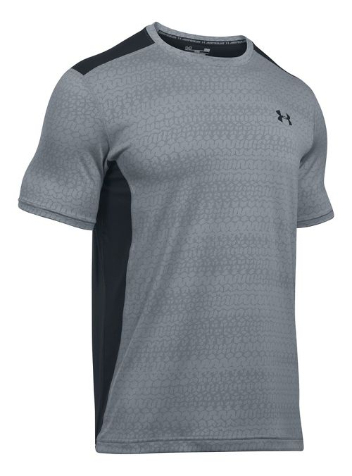 Mens Under Armour Raid Jacquard Short Sleeve Technical Tops - Steel/Graphite L