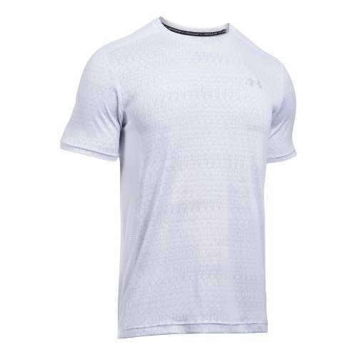 Mens Under Armour Raid Jacquard Short Sleeve Technical Tops - White/Overcast Grey M