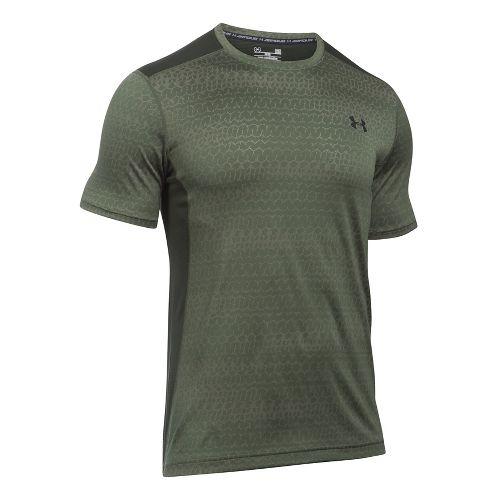 Mens Under Armour Raid Jacquard Short Sleeve Technical Tops - Downtown Green/Green L