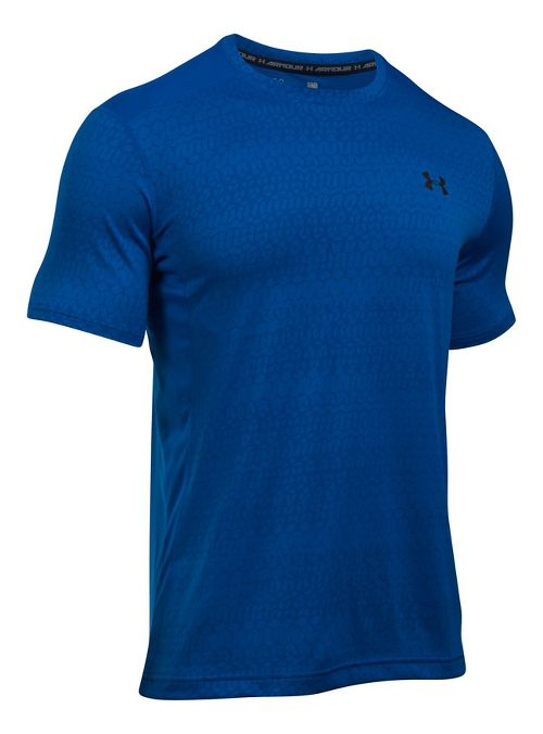Mens Under Armour Raid Jacquard Short Sleeve Technical Tops - Blue Marker/Royal S